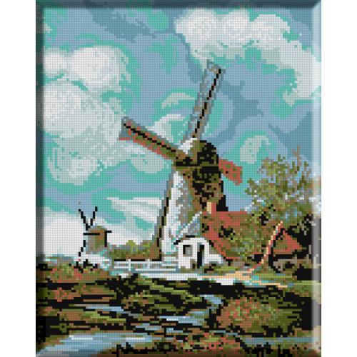 832.Peisaj cu mori de vant langa Haarlem