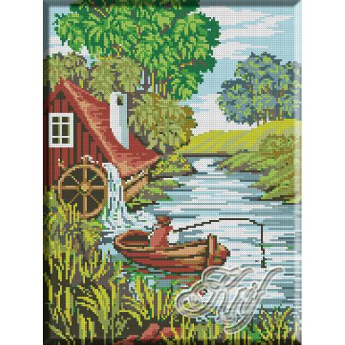 030.Peisaj cu pescar