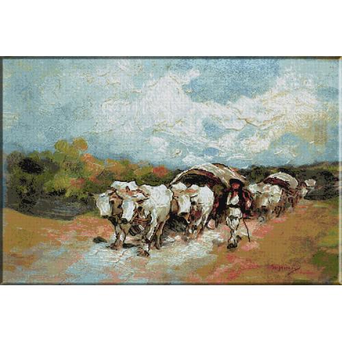 1004.Grigorescu - Carul cu 4 boi