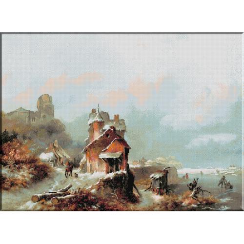 971.Kruseman- Peisaj de iarna cu calaret