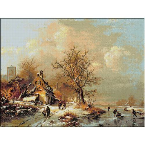 972.Kruseman-Personaje intr-un peisaj inghetat de iarna