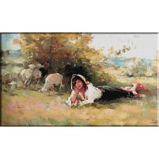 gobelin N.Grigorescu.Tarancuta cu turma de oi