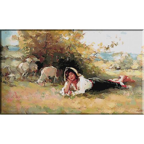 goblen_N.Grigorescu.Tarancuta cu turma de oi