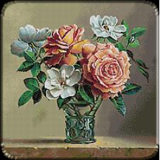 2275.Pieter Wagemans.Vas de sticla cu flori