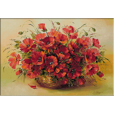 2436.Basket with poppies
