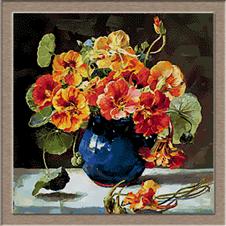 2687.flowers in Blue Vase