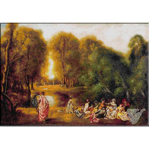 200.Watteau- Ansamblu in parc