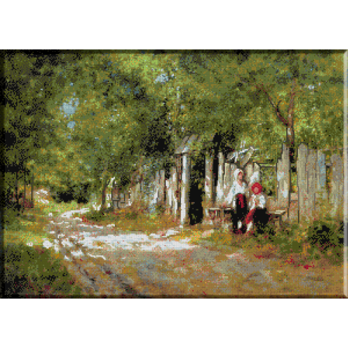 584.Grigorescu - Fete lucrand la poarta