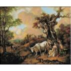 642.Gainsborough - Peisaj cu taietor de lemne si laptareasa
