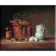 687. Natura statica cu vas de cupru