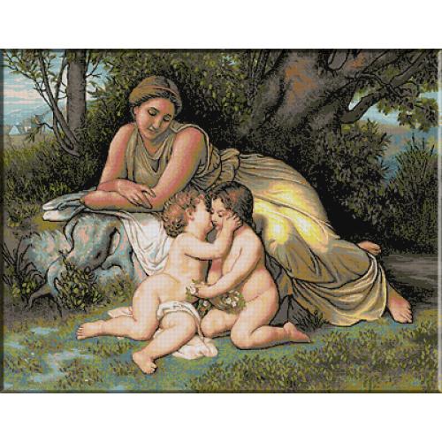 1038.Bouguereau - Tanara privind joaca copiilor