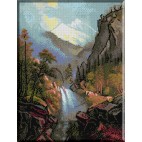 1073.Bierstadt - Cascada in apus