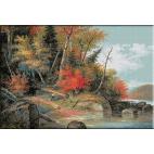 1366 - Krieghoff. Ducand o canoe spre rau