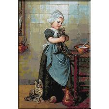 1886.Edmond Louyot - Fetita cu pisicute