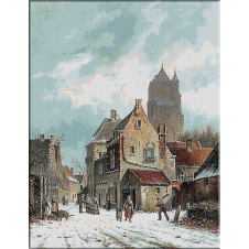 1929.ADRIANUS EVERSEN - Strada in iarna