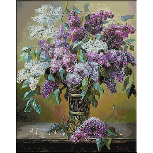 1996.Liliac in vas metalic