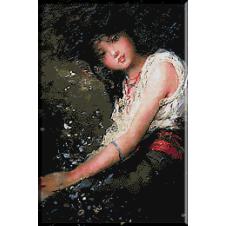 goblen Grigoreescu-Fata cu margele rosii