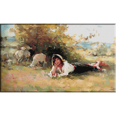 goblen N.Grigorescu.Tarancuta cu turma de oi