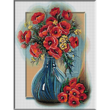 2339.Cristina.Poppies in blue vase