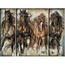 2352. Equestrian triptych