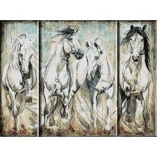 2353.Триптих с бели коне