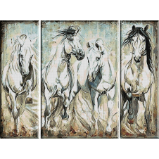 2353.Triptych with white horses