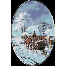 goblen peisaj cu sanie iarna