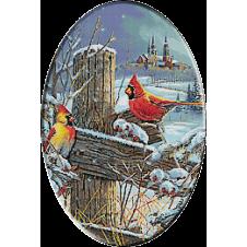 goblen peisaj cu pasari iarna
