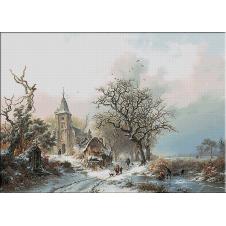 2438.Kruseman-Téli táj korcsolyázók