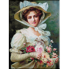 2449.Vernon-Lady with bouquet of roses