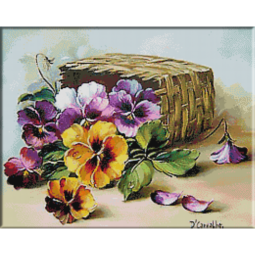 2461.Basket with pansies
