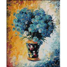 goblen flori-vis albastru