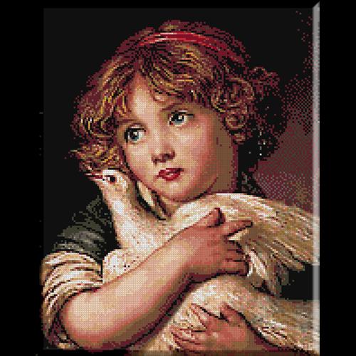 Greuze-Fetita cu porumbel