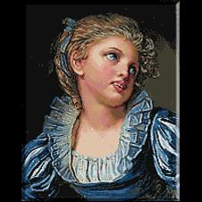 2557.Jean Baptiste Greuze.Момиче със синя рокля