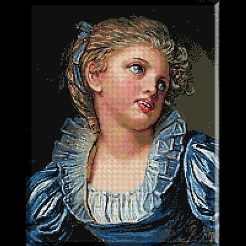 Greuze-Fetita cu rochie albastra