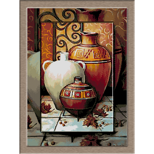 2665.Cristina-Vases and dried leaves