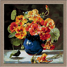 2687.flowers in Blue Vase