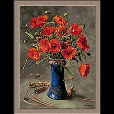2785.Pipacsok a kék váza