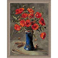 2785.Poppies in blue Vase