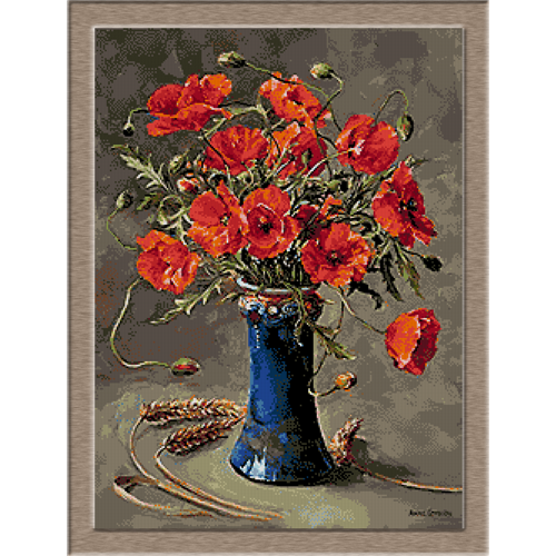 2785.Poppies in blue Vase