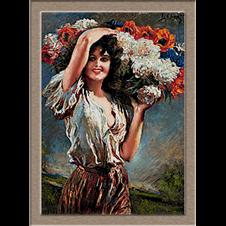 2858.Fiatal lány virág kosár