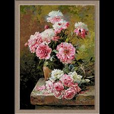 2911.Albert Tibule Furcy de Lavault-Peonies and Roses