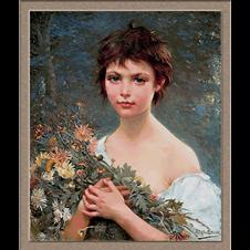 2913.Alfred Guillou-Devojka sa cvećem