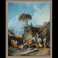 2916.François Boucher-Овчарски пейзаж