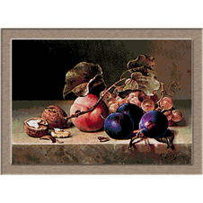 2922.Emilie Preyer-Plums, nuts and grapes