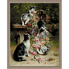 2958.Carl Reichert.Cats and flowers