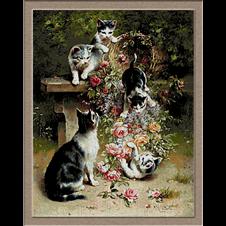2958.Carl Reichert.Macskák és virágok