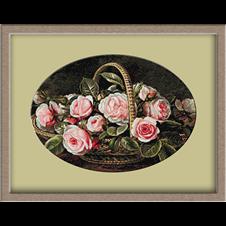 2978.Johan Laurentz Jensen.Basket with pink roses