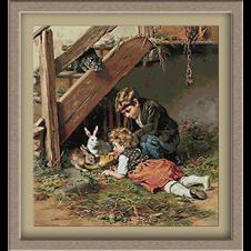 3098.Felix Schlesinger.Feeding rabbits