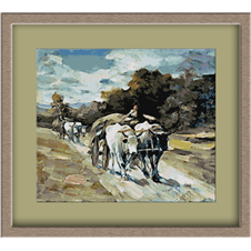 3115.N.Grigorescu.Carriage with oxen